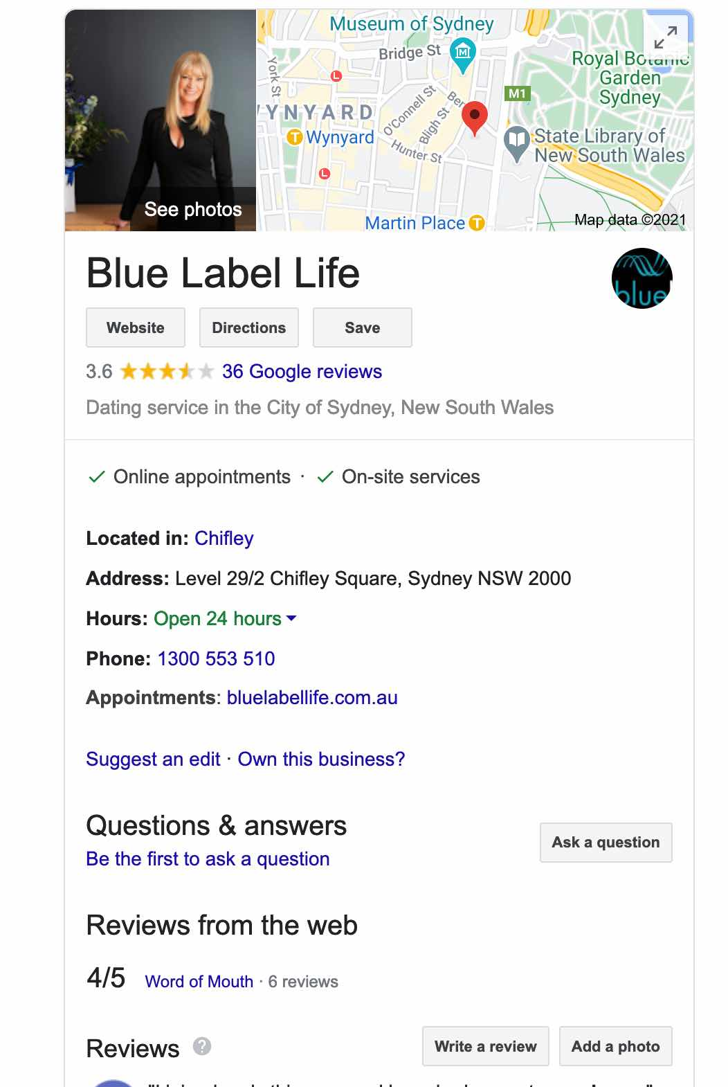 blue label life google reviews