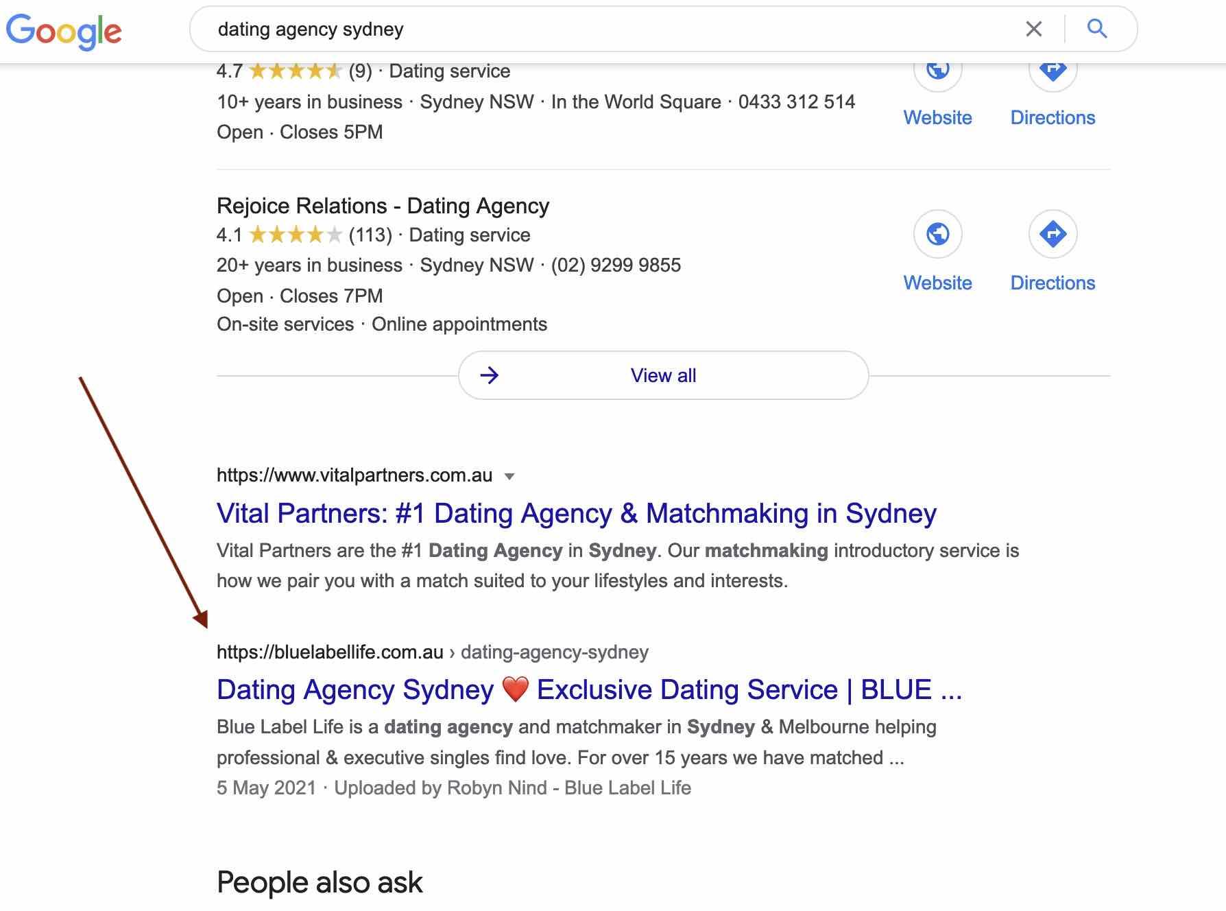 blue label life google rankings