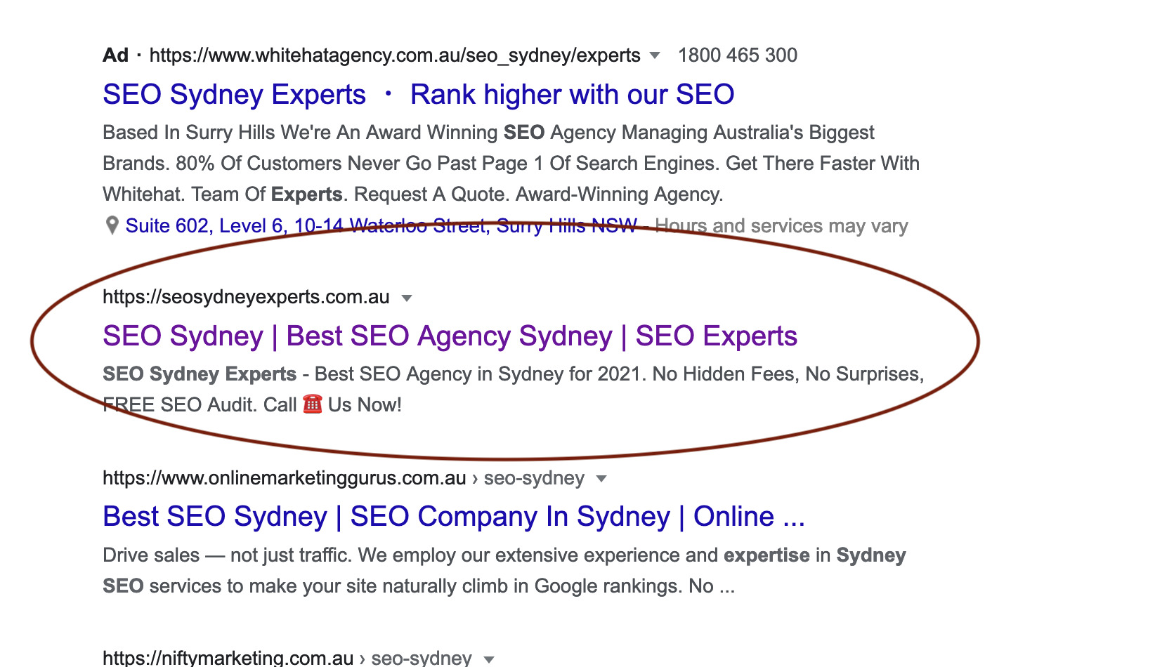 title and description example - seo sydney experts