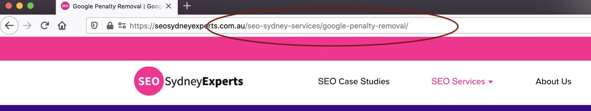 URL structure example for seo sydney experts