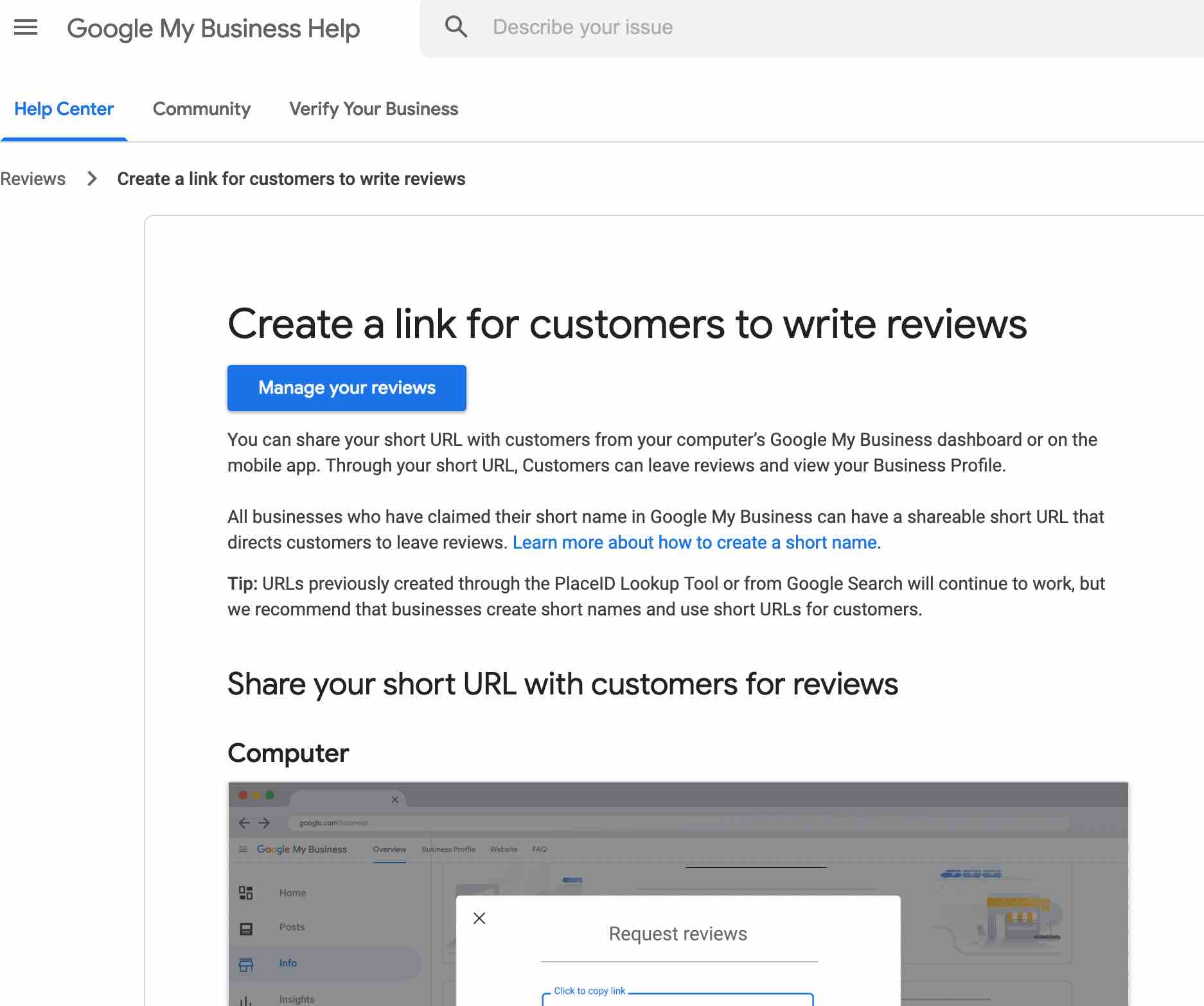 customer review link from google