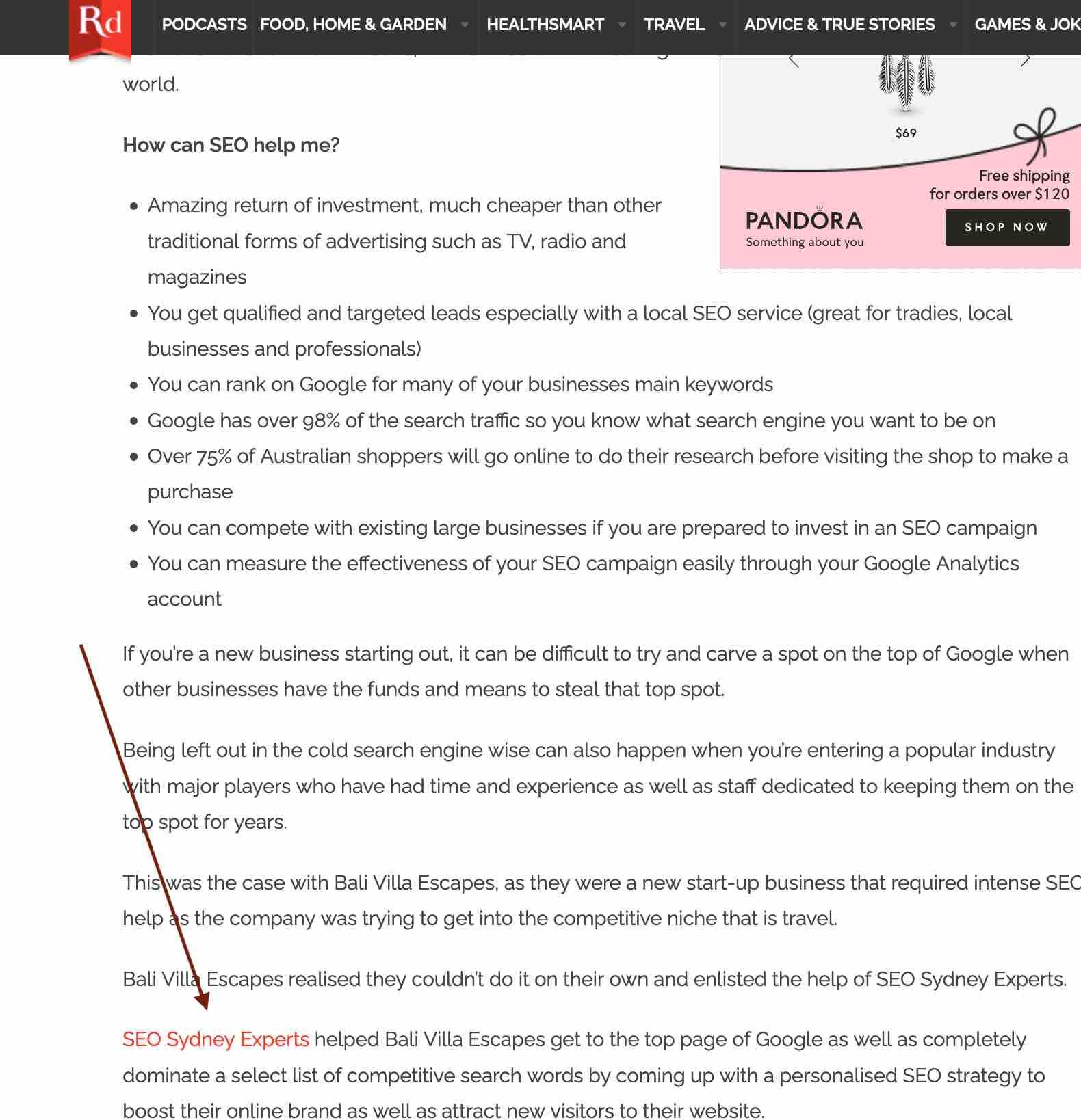 example of backlink - seo sydney experts