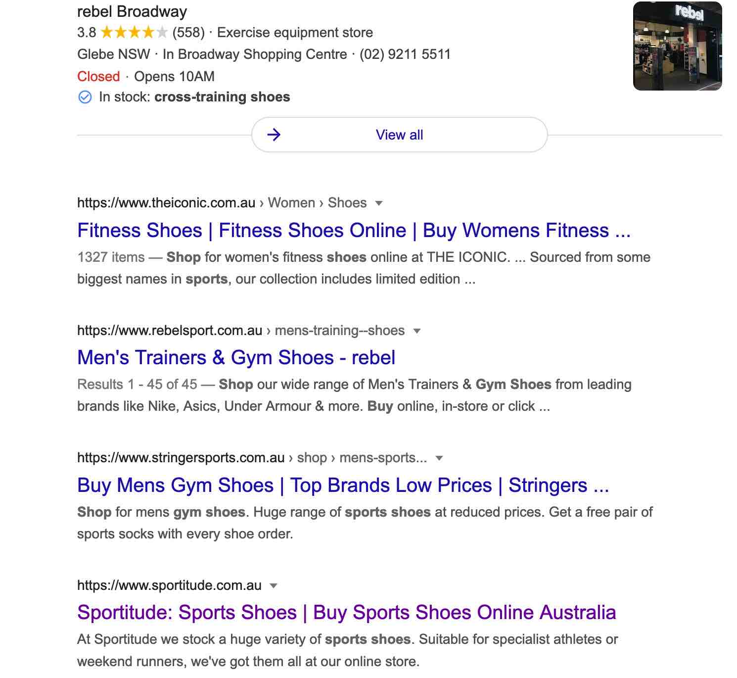 product pages example - seo sydney experts