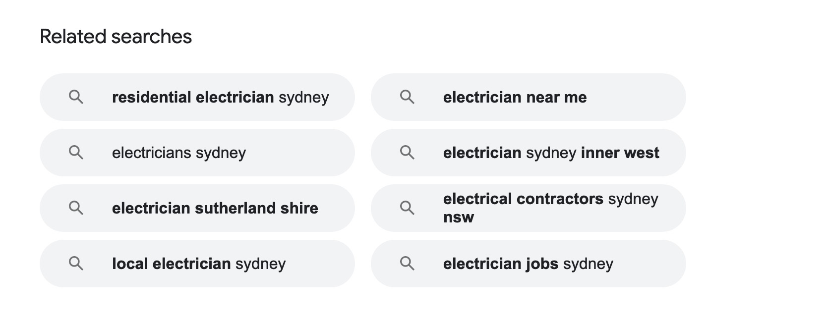 related searches example on google