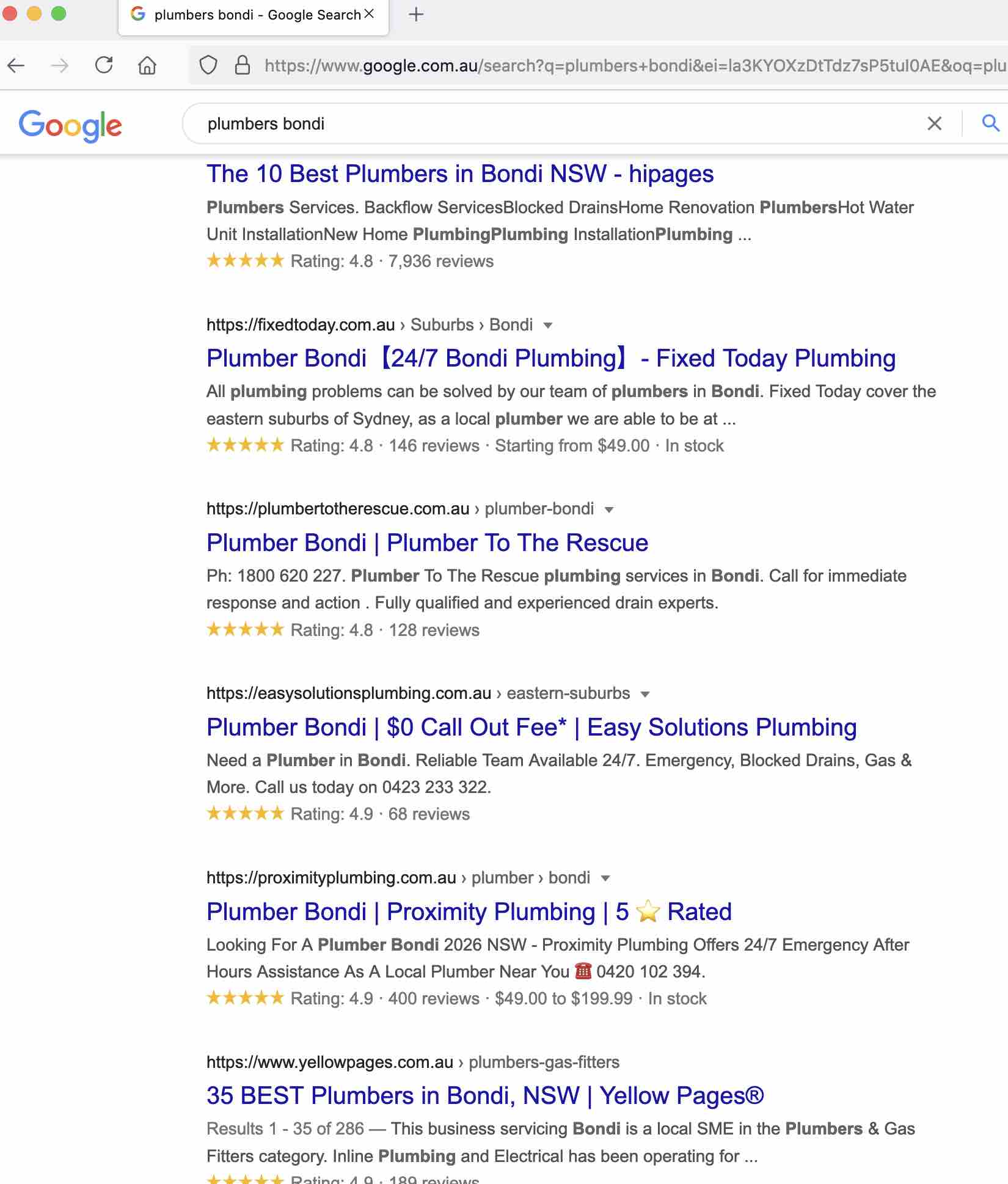 local seo example results